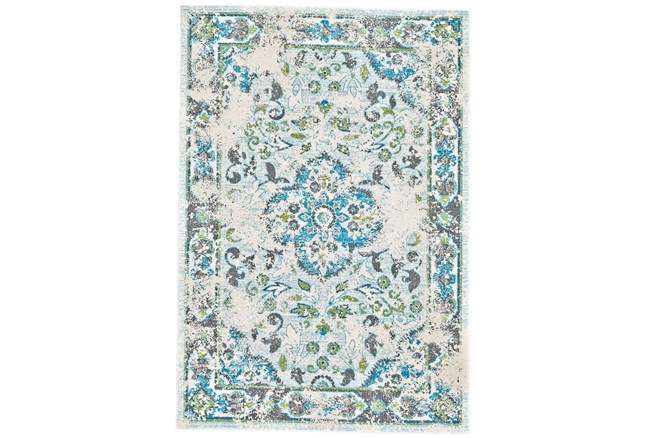 60X96 Rug-Aqua And Green Distressed Medallion - 360