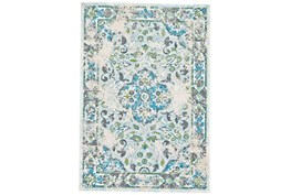 96X132 Rug-Aqua And Green Distressed Medallion
