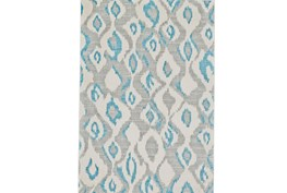 60X96 Rug-Aqua And Grey Ikat