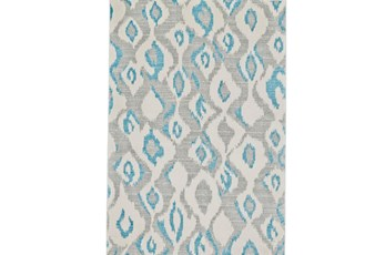 5'x8' Rug-Aqua And Grey Ikat