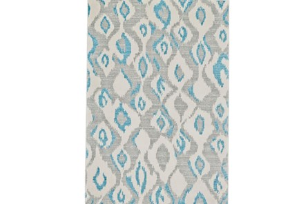 60X96 Rug-Aqua And Grey Ikat - Main