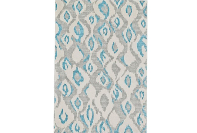 60X96 Rug-Aqua And Grey Ikat - 360