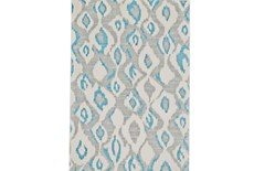 96X132 Rug-Aqua And Grey Ikat