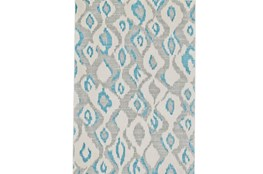 120X158 Rug-Aqua And Grey Ikat
