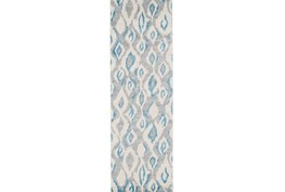 34X94 Rug-Aqua And Grey Ikat