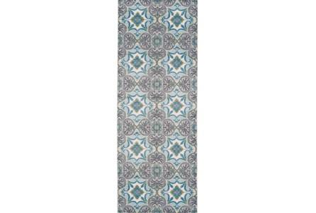 34X94 Rug-Sea Glass And Grey Kaleidoscope