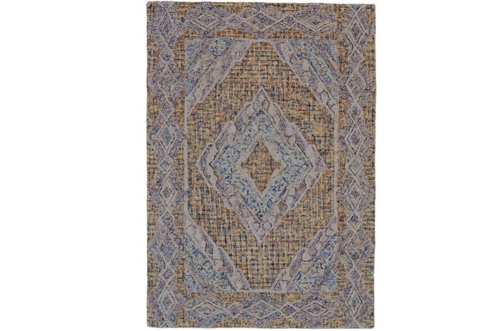 42X66 Rug-Indigo And Orange Acantha Medallion