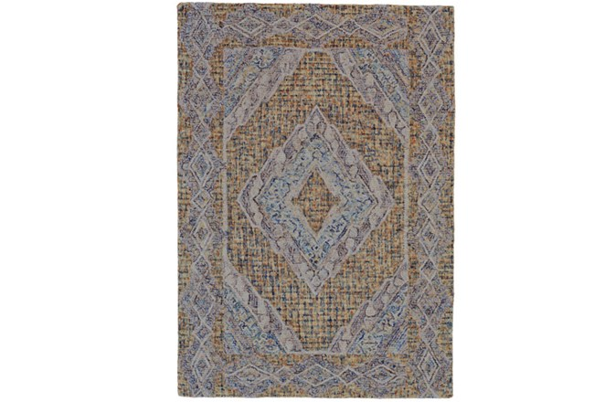 42X66 Rug-Indigo And Orange Acantha Medallion - 360