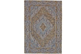96X132 Rug-Indigo And Orange Acantha Medallion
