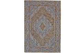 114X162 Rug-Indigo And Orange Acantha Medallion