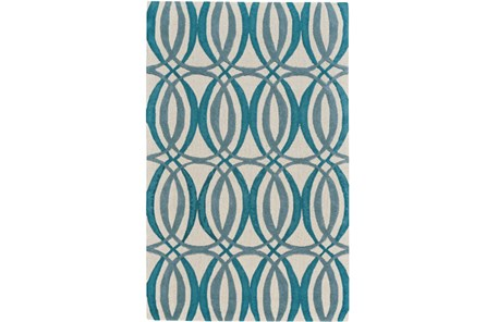60X96 Rug-Peacock Blue Interlocking Circles - Main