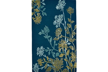 60X96 Rug-Blue And Green Botanicals - Main