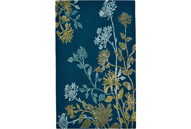 60X96 Rug-Blue And Green Botanicals - 360