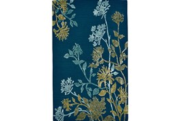 96X132 Rug-Blue And Green Botanicals