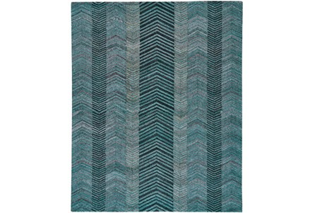 96X132 Rug-Turquoise And Charcoal Herringbone