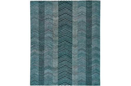 96X132 Rug-Turquoise And Charcoal Herringbone
