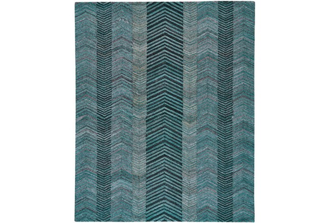 96X132 Rug-Turquoise And Charcoal Herringbone - 360