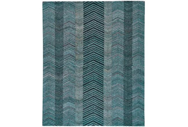 96X132 Rug-Turquoise And Charcoal Herringbone - 360