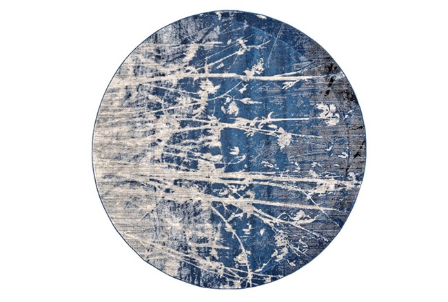 105 Inch Round Rug-Royal Blue Meadow - 360