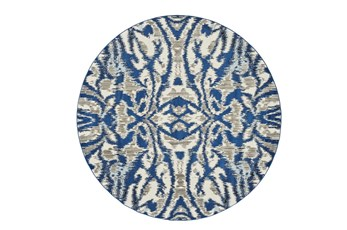 "8'7"" Round Rug-Royal Blue Kaleidoscope Damask"