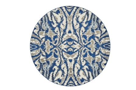 105 Inch Round Rug-Royal Blue Kaleidoscope Damask - Main