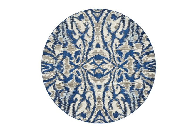 105 Inch Round Rug-Royal Blue Kaleidoscope Damask - 360