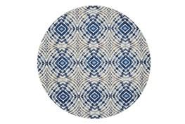 """8'7"""" Round Rug-Royal Blue Kaleidoscope"""