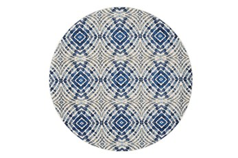 "8'7"" Round Rug-Royal Blue Kaleidoscope"