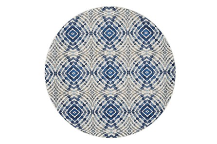 105 Inch Round Rug-Royal Blue Kaleidoscope - Main