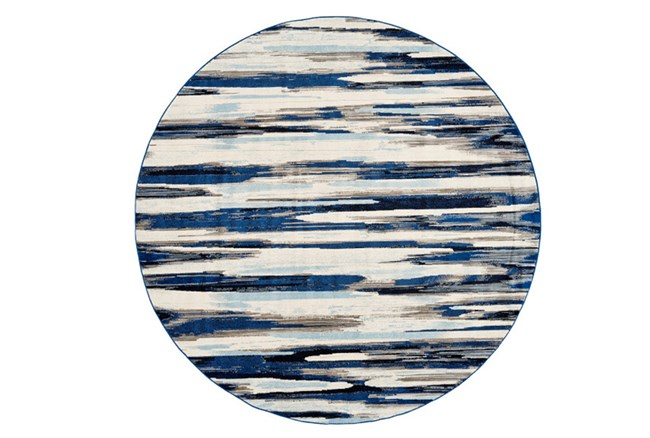 105 Inch Round Rug-Royal Blue Watermark Strie - 360