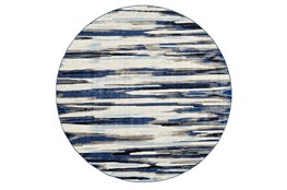 "8'7"" Round Rug-Royal Blue Watermark Strie"