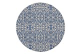 105 Inch Round Rug-Royal Blue Distressed Damask - Signature