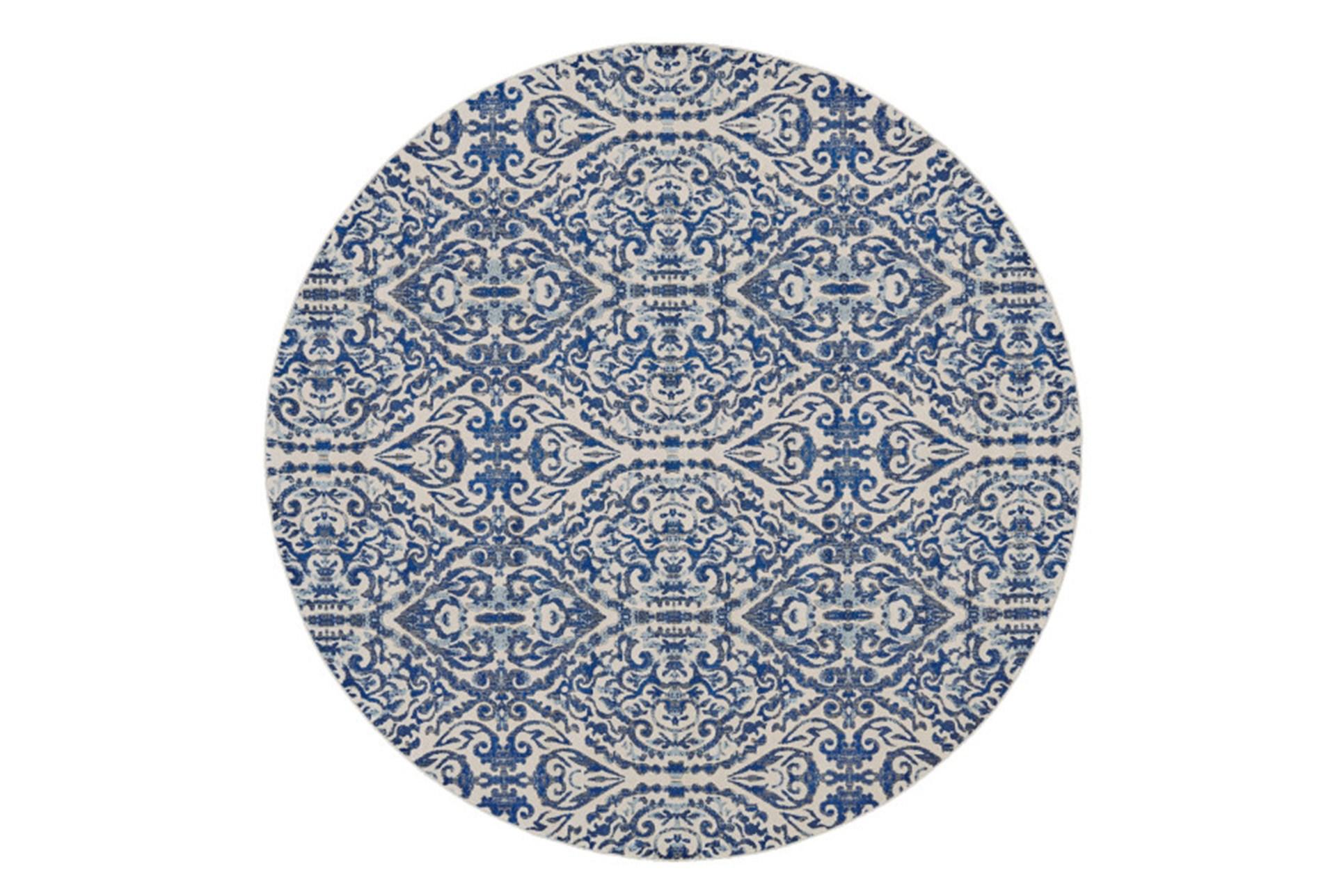 105 Inch Round Rug Royal Blue Distressed Damask Living