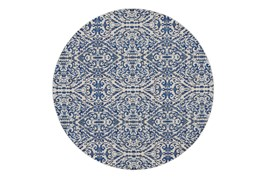 105 Inch Round Rug-Royal Blue Distressed Damask