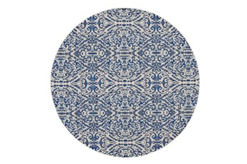 "8'7"" Round Rug-Royal Blue Distressed Damask"