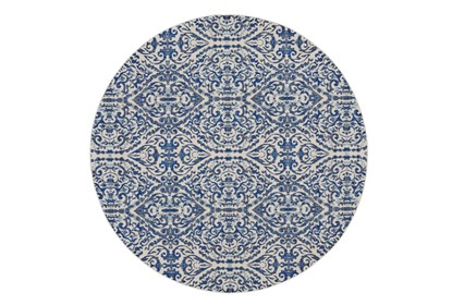 Inch Round Rug Royal Blue Distressed