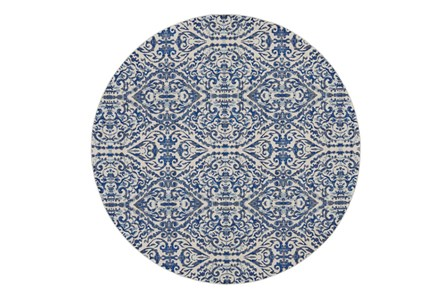 105 Inch Round Rug-Royal Blue Distressed Damask - Main