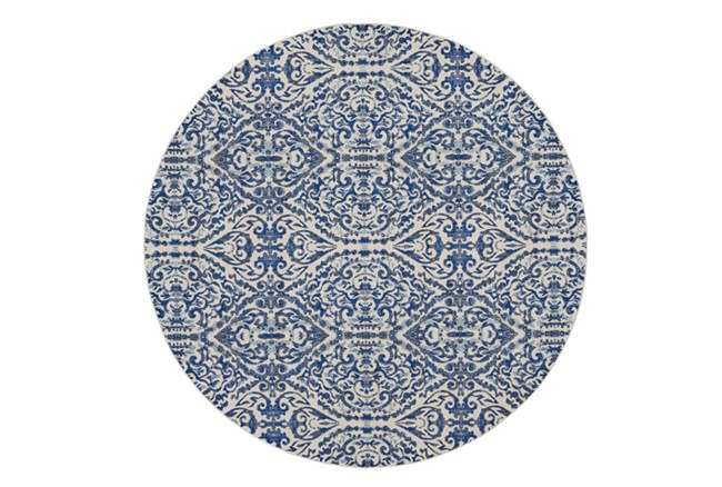 105 Inch Round Rug-Royal Blue Distressed Damask - 360