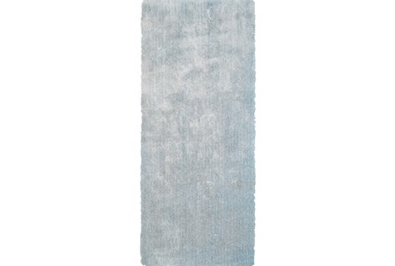 30X96 Rug-Mottled Light Blue Shag