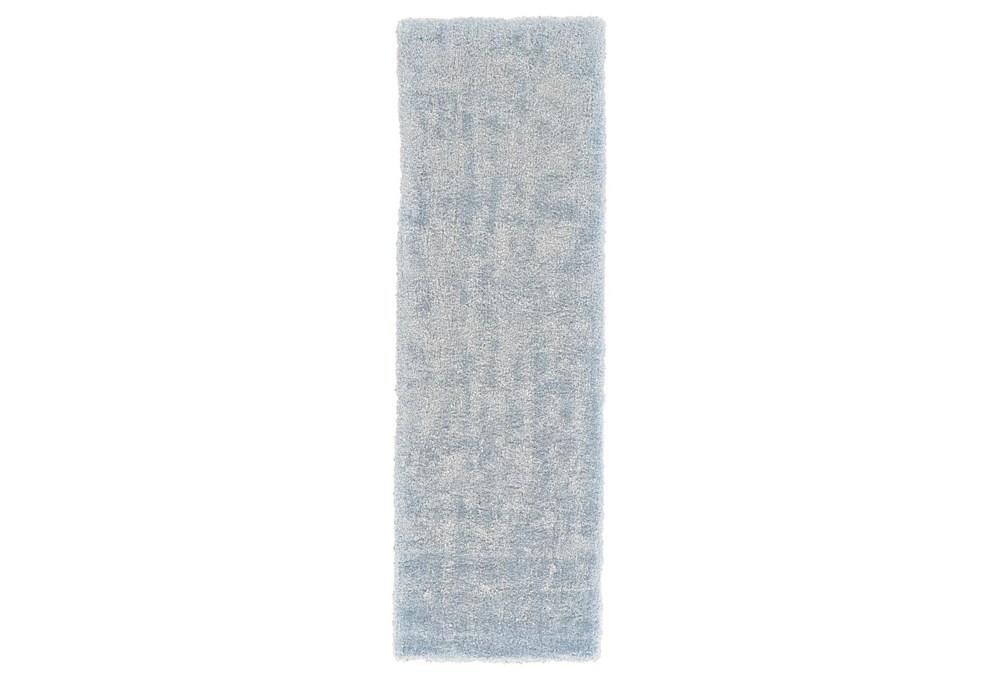 """2'5""""x8' Rug-Mottled Light Blue Shag"""
