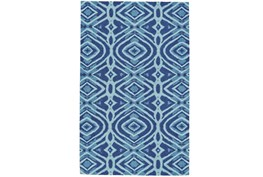 24X36 Rug-Indigo And Aqua Global Geometric Pattern