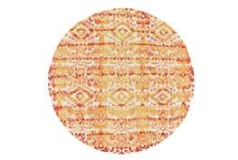 120 Inch Round Rug-Orange Tie Dye Ikat