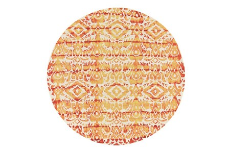 120 Inch Round Rug-Orange Tie Dye Ikat - Main