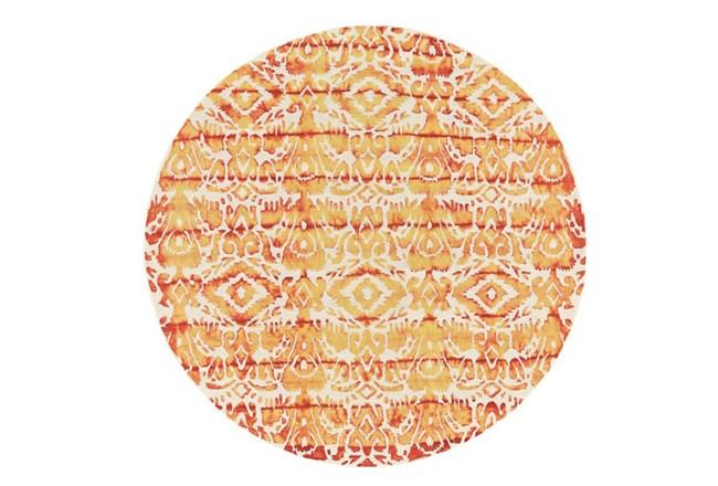 120 Inch Round Rug-Orange Tie Dye Ikat - 360