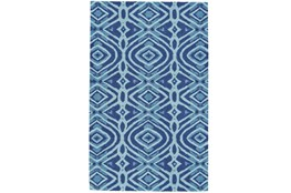 60X96 Rug-Indigo And Aqua Global Geometric Pattern