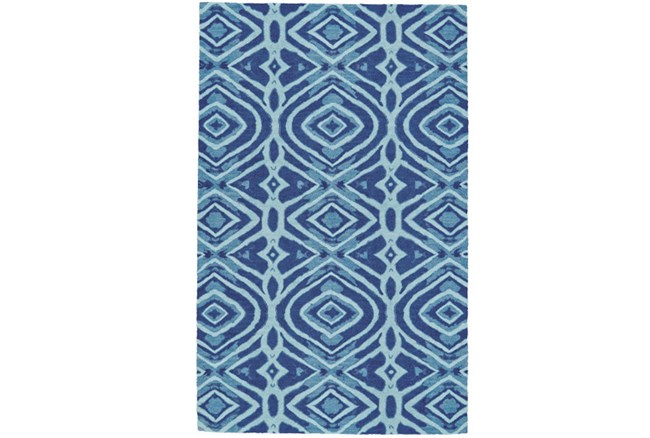 96X132 Rug-Indigo And Aqua Global Geometric Pattern - 360