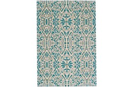 26X48 Rug-Turquoise Distressed Damask