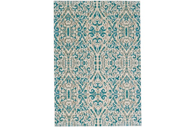 26X48 Rug-Turquoise Distressed Damask - 360