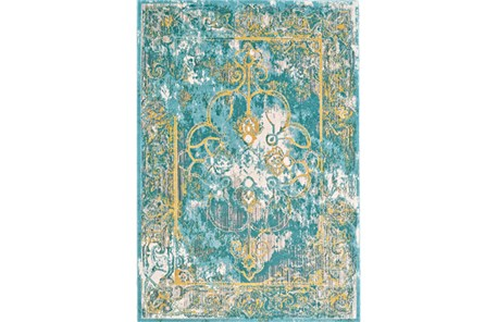 26X48 Rug-Aqua And Yellow Distressed Medallion - Main