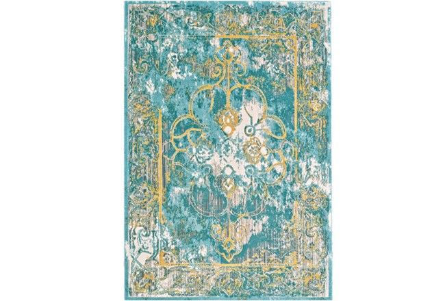26X48 Rug-Aqua And Yellow Distressed Medallion - 360